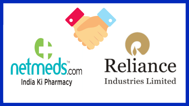 The image focuses on ACQUISITION OF NETMEDS BY RELIANCE