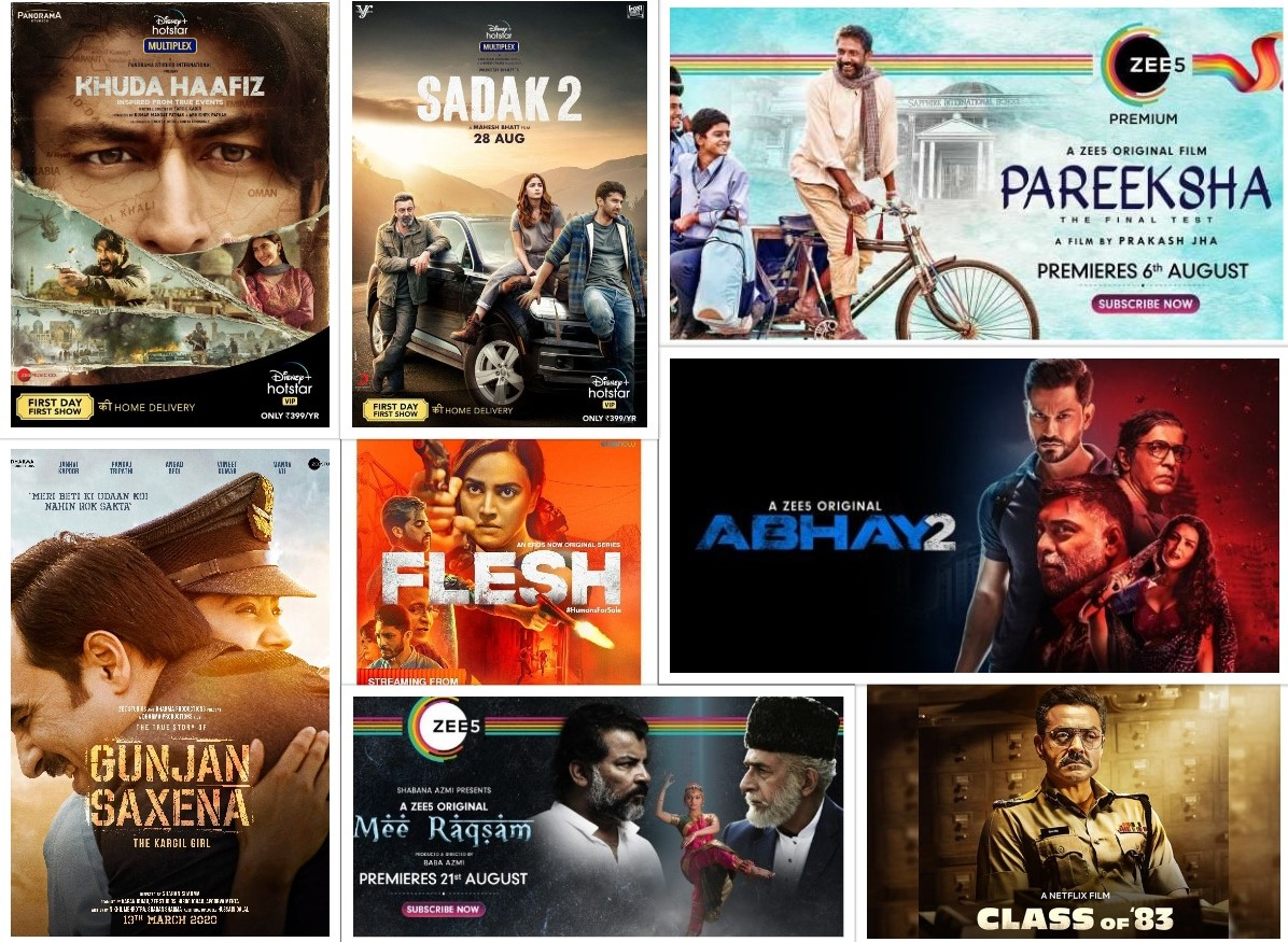 The image gives information on MOVIES RELEASING IN AUGUST ON OTT PLATFORMS - 2020