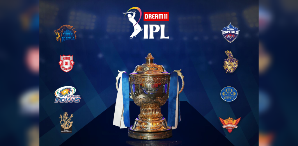 Image shows the IPL 2020 Trophy and the teams contending to win the Cup.