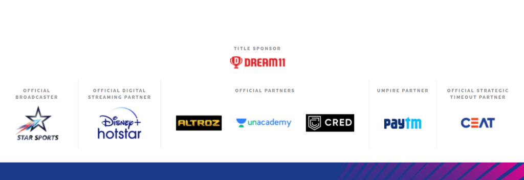 The image shows Sponsors and Official partners of Dream11 IPL 2020