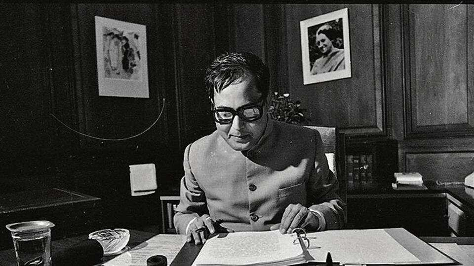 The image shows Pranab Mukherjee as Finance Minister in 1984