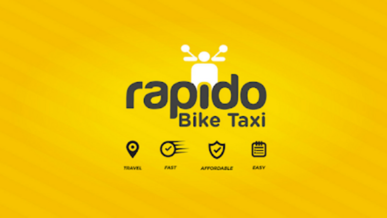 The image shows logo of RAPIDO THE TWO WHEELER CAB