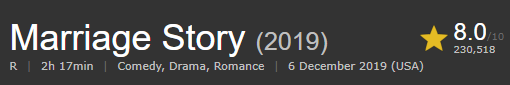 Image shows rating of movie MARRIAGE STORY which is one of the top 10 movies on NETFLIX