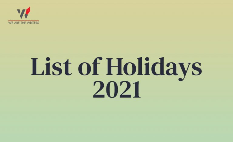 List of Holidays in 2021