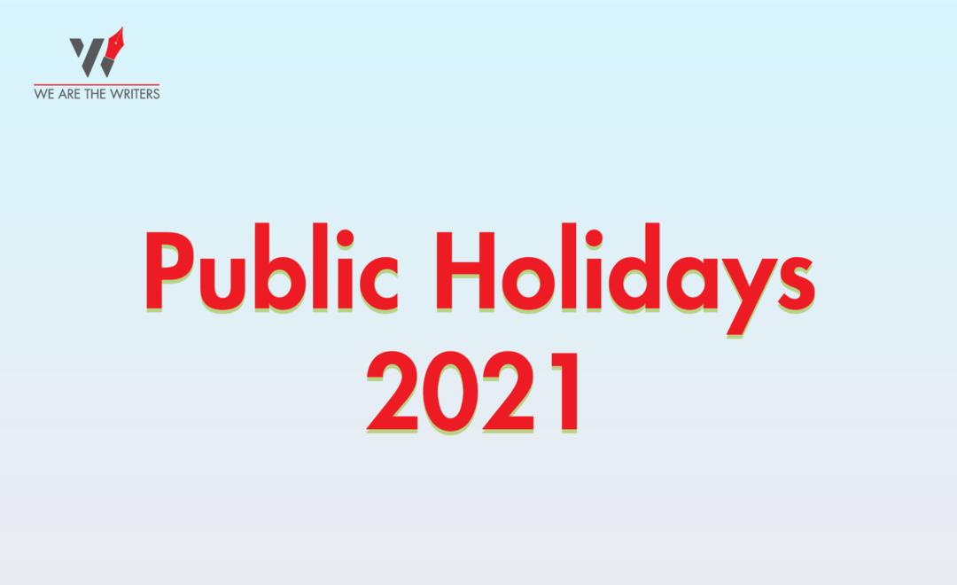 Public Holidays 2021