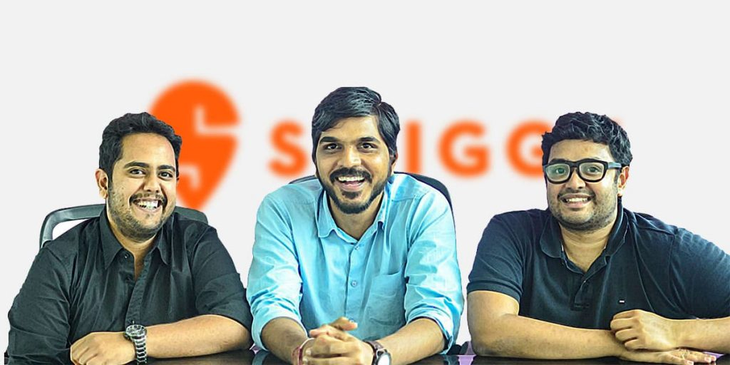 SWIGGY founders Sriharsha Majety, Nadan Reddy and Rahul Jaimin, Indian StartUp