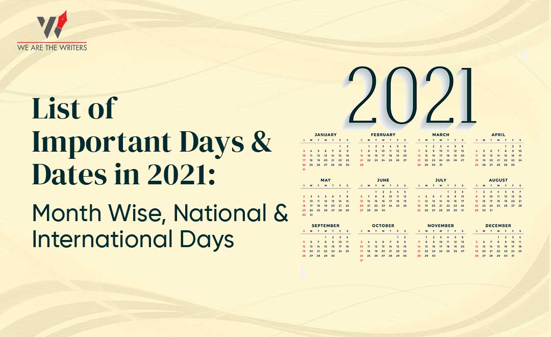 List of Important Days and Dates in 2021