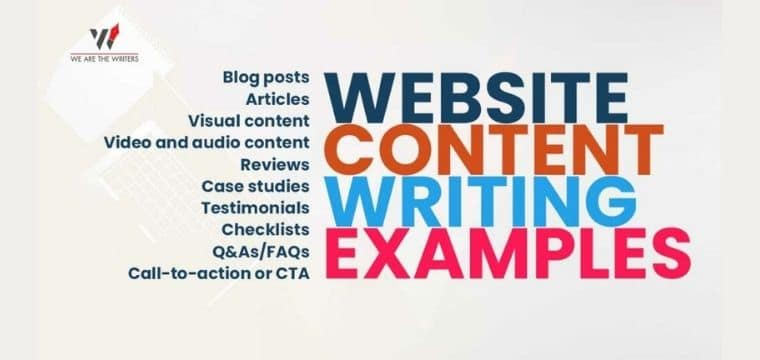 Website Content Writing Examples